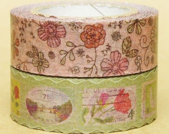 NamiNami Washi Masking Tape - Retro Flower & Stamp