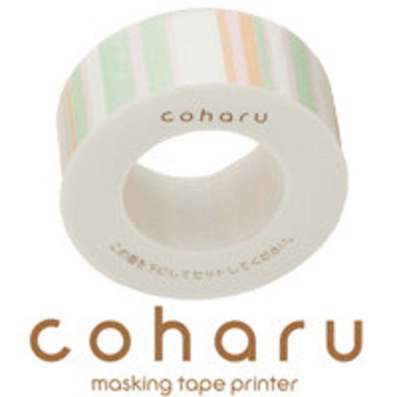 coharu Masking Tape - Stripe Green - Printer tape
