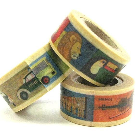 mt Washi Masking Tape - mt for kids - Transport, Animals & Instruments - Set 3