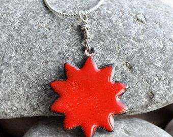 enamel pendant, red sun, handmade, accessories, coolvintage, collectibles, gorgeous, looks great, unique, Jul 04