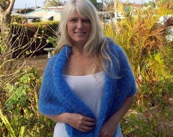 Blue Mohair Lightweight Stole Shawl Hand Knit Wrap