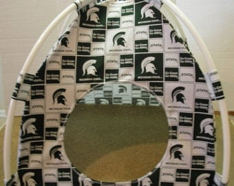 Small Handmade Michigan Spartans Pup Tent Pet Bed For Cats/ Dogs / Ferrets / Piggies  Or Used For A Toy Box / Barbie Doll House