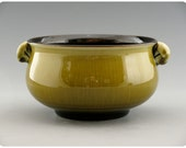 Shallow Olive Green Porcelain Bowl