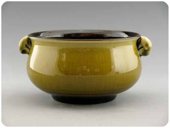 Shallow Olive Green Porcelain Bowl