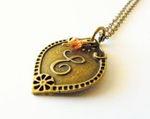 Monogram necklace. Initial jewelry. Mother's Day, Easter, spring. Padparadsha orange Swarovski, Letter E.