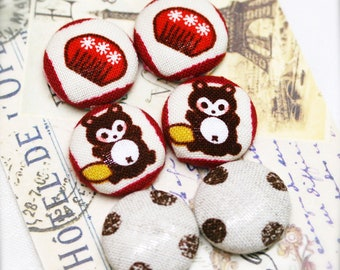 """Urban bear- fabric covered button ear studs, set of 3 -  3/4"""", 19mm (BS)"""