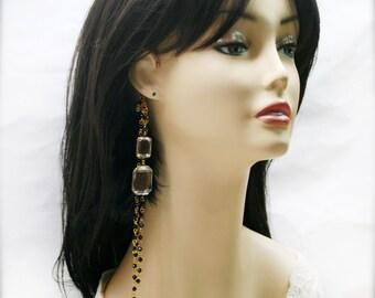Onyx black feathers and jewel ear wraps (EW)
