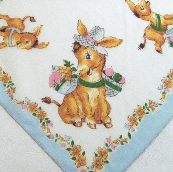 Vintage Donkey Childs Handkerchief
