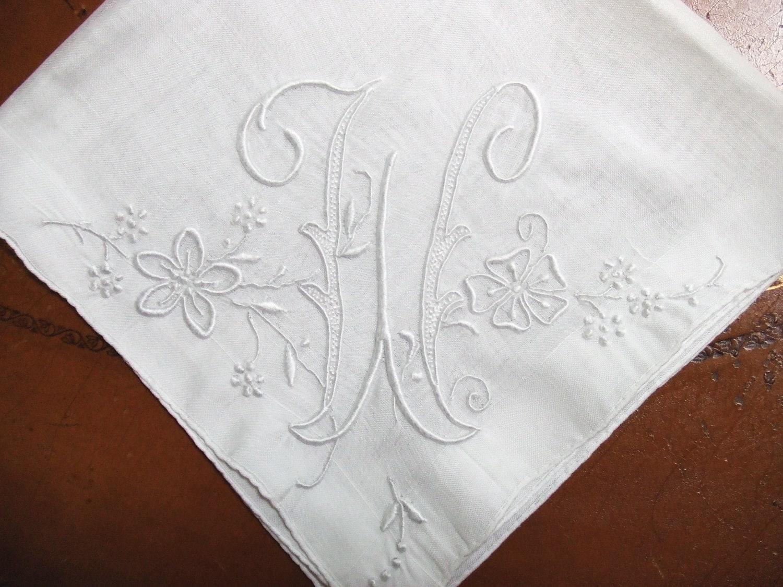 Vintage Linen Handkerchief Monogram W