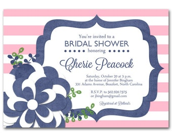 Navy Bridal shower invitation, Navy and pink baby shower invitation, printable digital DIY