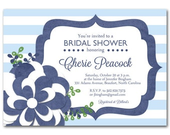 Navy Bridal shower invitation, Navy and light blue baby shower invitation, printable digital DIY