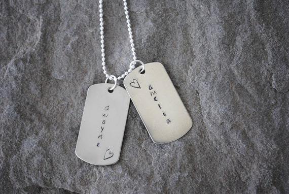 sterling silver dog tag necklace with personalization fathers day gift