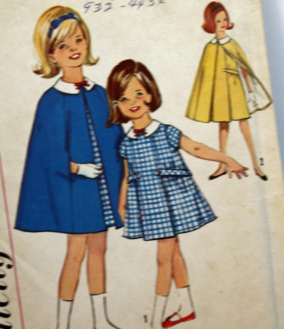 Vintage 1960s, Sewing Pattern, Simplicity 5477, Dress and Cape, Girl's  Size 8