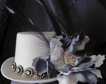 Vintage Beauty Mini Top Hat  with crystal    ready to ship
