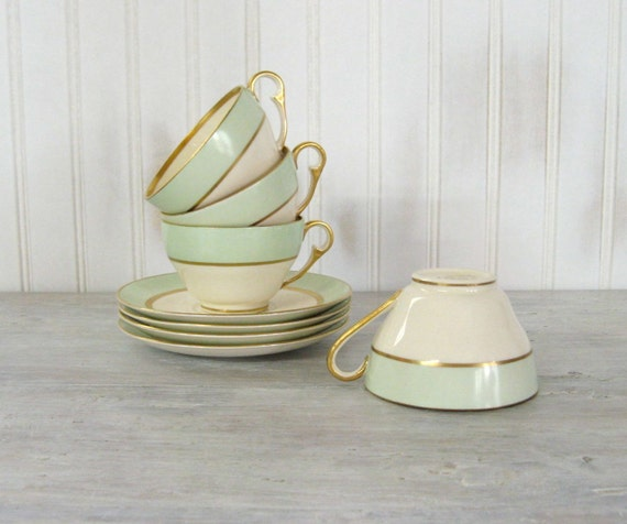 Vintage Teacups with Saucers . Set of 4 . Mint Green . Tea Party . Pope-Gosser China . Spring Pattern . Coin Gold Trim
