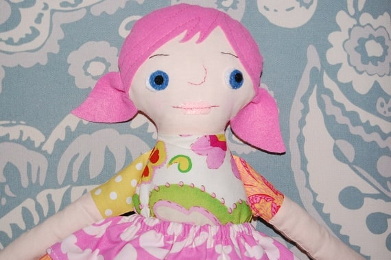 SALE - Fairy Doll - Handmade Stuffed Doll Ragdoll - PINK hair - Ready to Ship