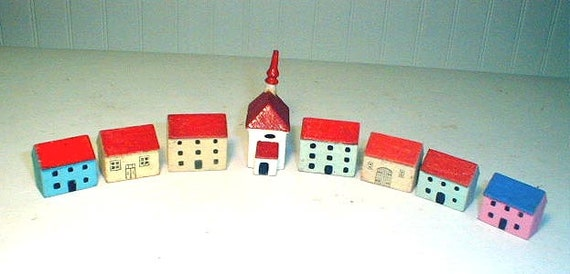 Miniature German Wooden Houses and Church  1920s 1930s  Christmas