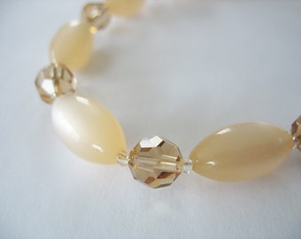 Lucite Crystal Necklace, Champagne, Lucite Moonglow, Choker Style, 1950s, Bride Jewelry, Minimalist, Wedding Choker Necklace