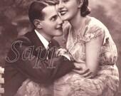 DIGITAL DoWNLOAD of FReNCH Antique 1920s Postcard of Art Deco Couple Love Romance FRaNce VinTage Photograph Printable IMAge Valentine
