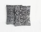 Zebra Print Sachets, Black and White Home Decor, Scented Mini Pillows, Botanical