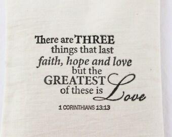 Faith Hope Love Lavender Sachet, 1 Corinthians 13 Bible Verse, Christian Wedding Favor