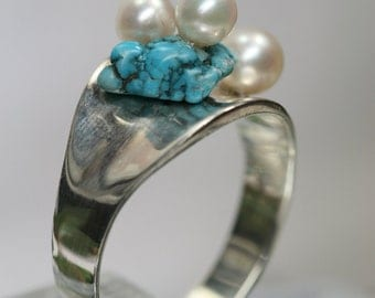 Sterling Turquoise and Pearl Ring- OOAK  Handmade