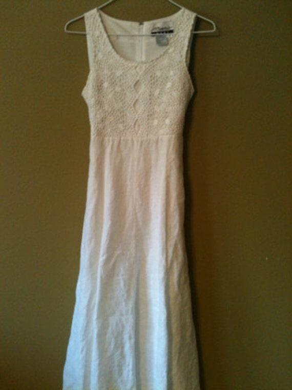Today only women 39 s white linen dress crotchet top tank for White linen dress for beach wedding