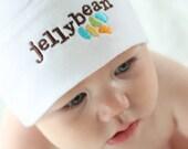Jellybean Nickname Baby Knot Hat - White American Apparel