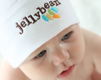 Jellybean Nickname Baby Knot Hat - White American Apparel