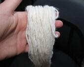 Hand spun 100% French Angora Rabbit 2 ply- 50 grams & 119.5 Yard YARN, White Angora Yarn, Fuzzy Yarn,  Baby Prop yarn