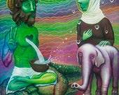 Unicorn, White Elephant, Buddha, Love Surreal Pop Art Print on Paper