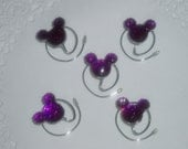MOUSE EARS Hair Swirls for Themed Wedding in Dazzling Purple Acrylic