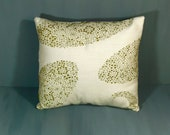 Sale Green embroidered pillow 14 inch by 14 inch