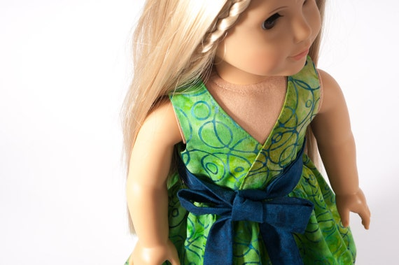 "18"" Inch Doll Clothing American Girl Doll Clothes Tropical Wrap Dress in Green Batik Blue Circles by PattiKuz"