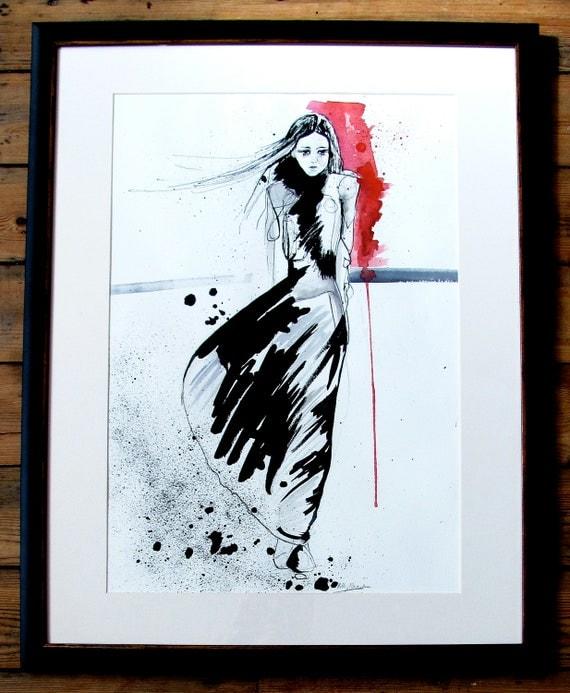 Jet // INK & WATERCOLOR Framed Original Fashion Illustration