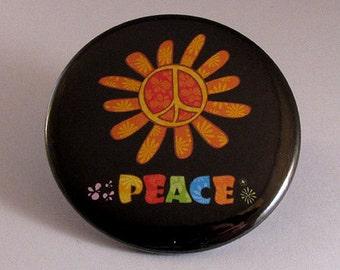Peace flower pocket mirror