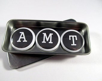 Initial Magnets Set / Typewriter Font / Monogram Magnets / Black and White