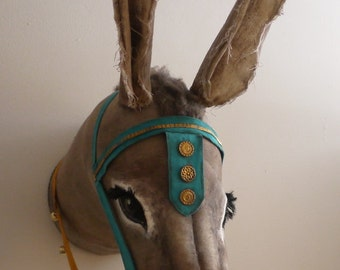 Personalised Seaside Donkey head- fabric taxidermy - As featured in Coast magazine, August 2013