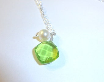Sterling Silver Green Quartz & Pearl Necklace