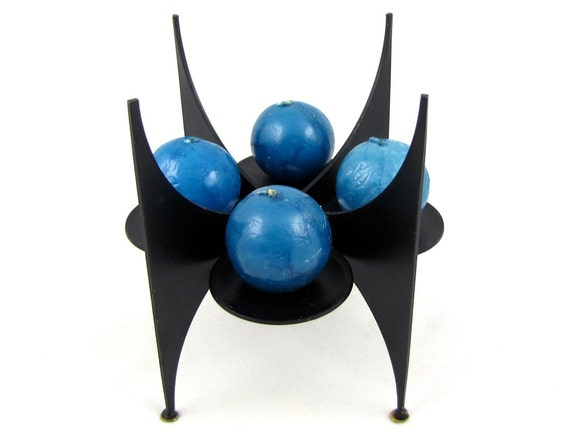 Futuristic - Vintage Mid Century Modern Black Metal Candleholder, Atomic Spike Shape with Curved Buttress Fins, So Space Age