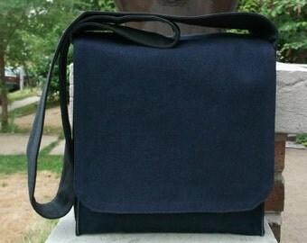 Simple Navy Messenger Bag