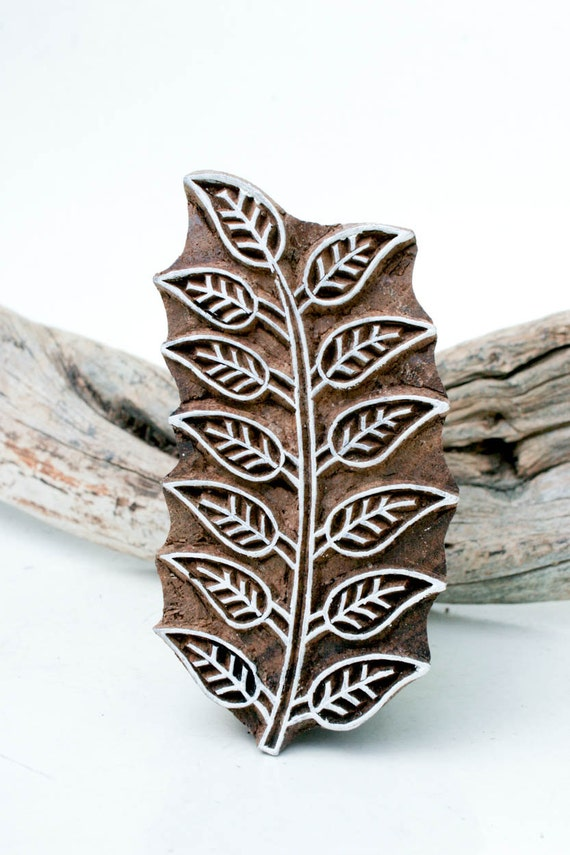 Indian wood stamp leaf from tataindianwoodstamps on