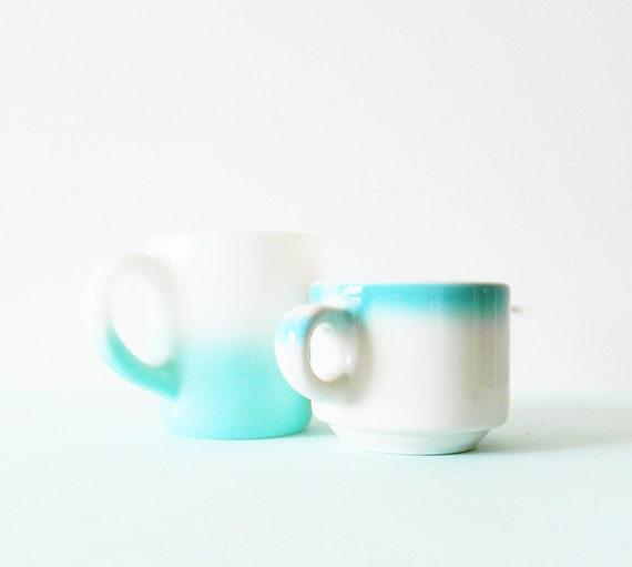 1950s Blue Ombre Mismatched Mugs