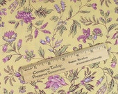 1/2 YARD Fabric, vine & flowers, yellow, lavender, Vintage and Vogue, discontinued