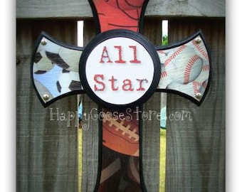 Wall Cross - Wood Cross - X-Small - Multi - Sports with plaque - All Star