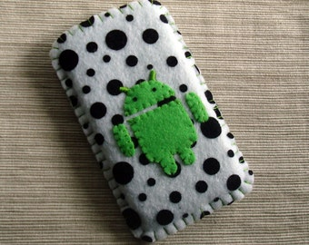 Android Phone Case in Black White Polka Dots Flocked Felt READY TO SEND