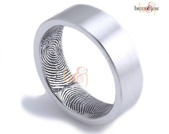 6mm Sterling Silver Custom Fingerprint Wedding/Commitment Ring with Double Wrap Prints