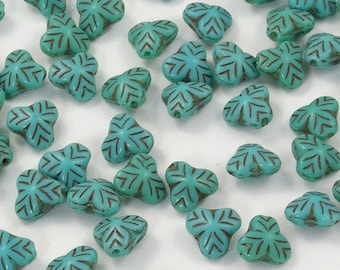 Opaque Turquoise Berry Leaf Czech Glass Beads 9mm - 25