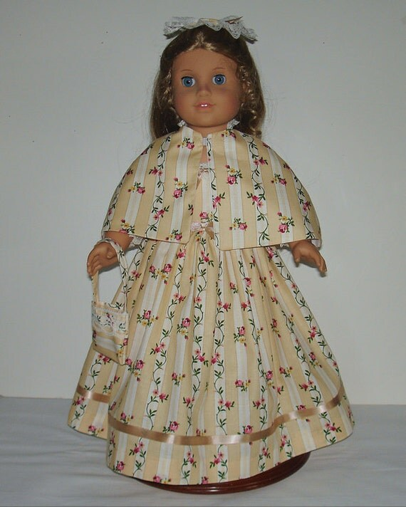 Gold floral stripe Colonial Tea dress Created for American Girl doll  Elizabeth or Felicity No.484
