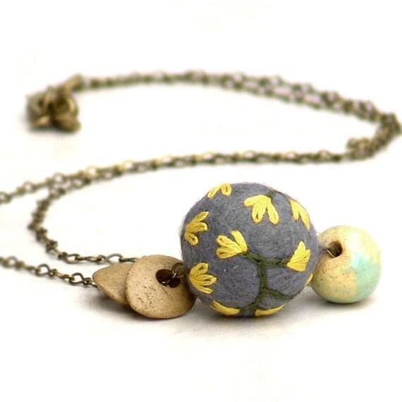 Mixed Media English Countryside -Felt Bead Ceramic Brass Chain Simple Gray Yellow Flower
